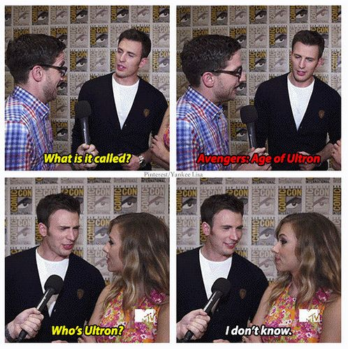 *Laughing hysterically* Josh Harrowitz talking to Chis Evans ( captain america ) and Scarlet Johansson ( black widow ) about the Avengers : Age of Ultron avengers funny