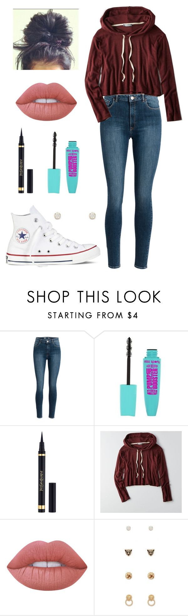 """Inspired by Liza Koshy"" by mystics10 ❤ liked on Polyvore featuring Yves Saint Laurent, American Eagle Outfitters, Lime Crime, Forever 21 and Converse"