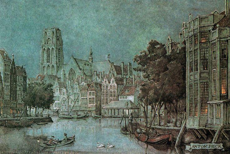 Anton Pieck  de Korenbeurs ( tower in back ground) Rotterdam circa 16th century Schiedam