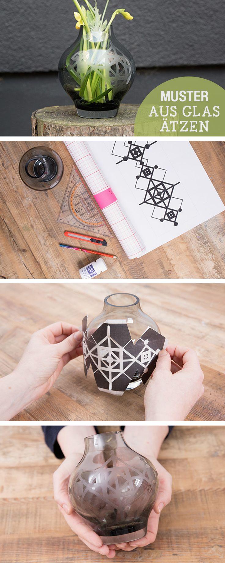 DIY - Anleitung: Glas mit Mustern ätzen, Wohndeko selbermachen / diy tutorial: etch glass with individual pattern via DaWanda.com