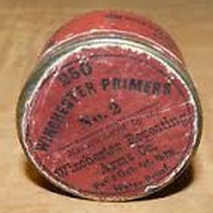 Antique 1878 WINCHESTER No.2 PRIMER TIN CONTAINER / Old West