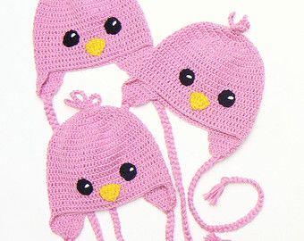 Sombreros de pájaro recién nacidos, sombrero rosado del bebé, gemelo de sombreros, tríos, las muchachas del bebé, Foto Prop, sombrero del bebé del ganchillo, sombrero Premie, traje de recién nacidos, sombrero lindo del bebé