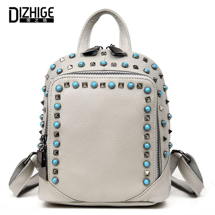Fashion Rivet Genuine Leather Backpack Women Bag School Bags For Teenagers Girls Backpacks Famous Brands Backpack Cute Mochila