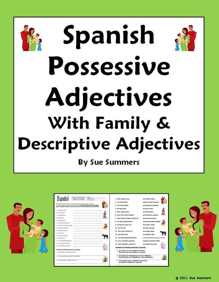 Possessive Adjectives Spanish Worksheet Answers - spanish adjectives ...