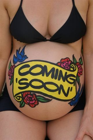 coming soon pregnant belly. Not a tattoo, but really cute