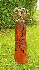 Feuersäule mit Kugel 100cm Metall Stele Gartendeko Garten Rost Fackel