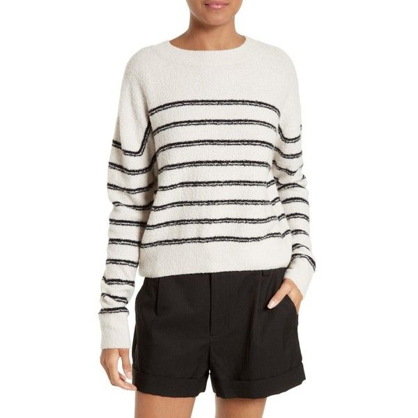 Women's Vince Stripe Sweater ($345) ❤ liked on Polyvore featuring tops, sweaters, striped top, vince sweaters, drop shoulder sweater, slouchy pullover and slouch sweater