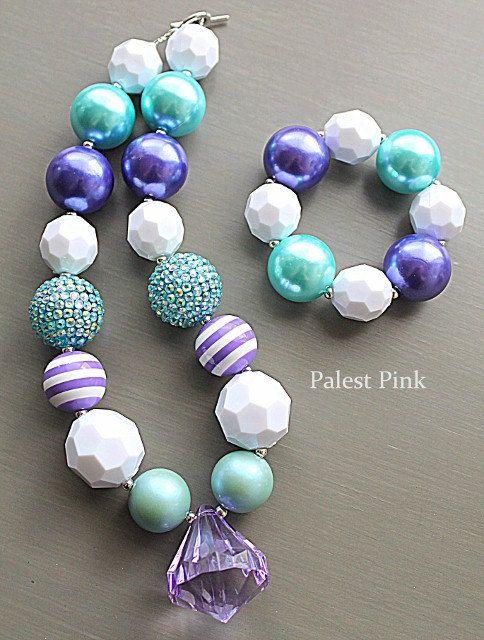 Purple Stripe little girls chunky necklace