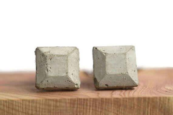 Geometric concrete earrings,  minimalist style