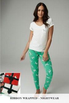 adbb24268f0f6 White Green Dalmatian Pyjamas With Ribbon Wrapping