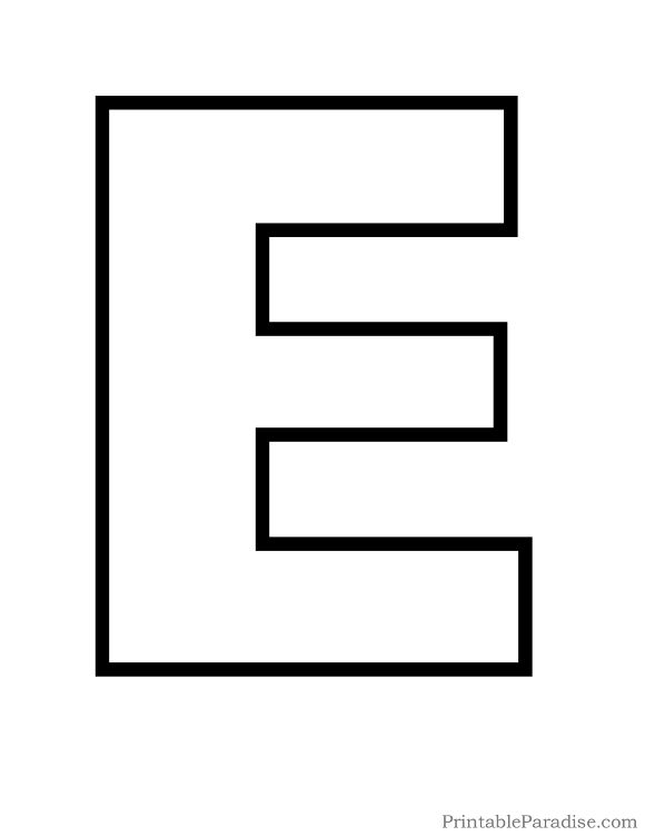 Printable Letter E Outline - Print Bubble Letter E