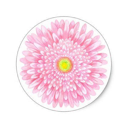 Pink Gerbera Small Round Matte Sticker - pink gifts style ideas cyo unique