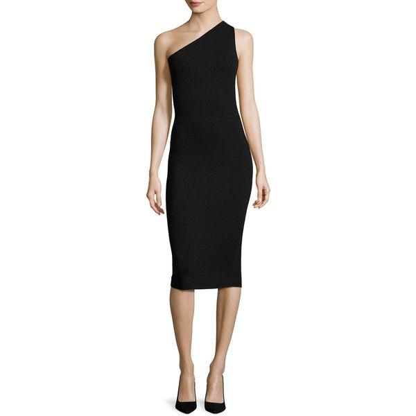 Diane Von Furstenberg One-Shoulder Knit Midi Dress ($328) ❤ liked on Polyvore featuring dresses, black, women's apparel dresses, knit dress, bodycon midi dress, below the knee cocktail dresses, knit bodycon dress and one shoulder midi dress