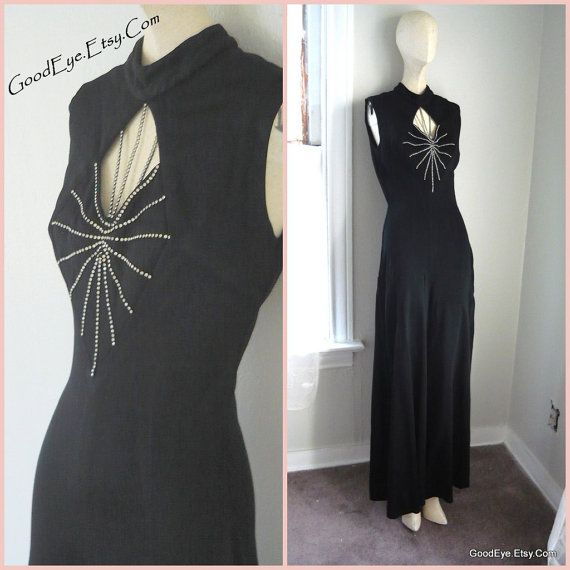 Elegant Wide Leg JUMPSUIT / size 4 6 8  / Black Palazzo Pants COCKTAIL Evening Rhinestones KEYHOLE  / small 1970s Bell Bottom