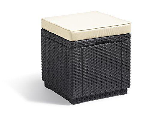 Allibert by Keter Outdoor Garden Storage Seat with Cushion - Graphite with Cream Cushion
