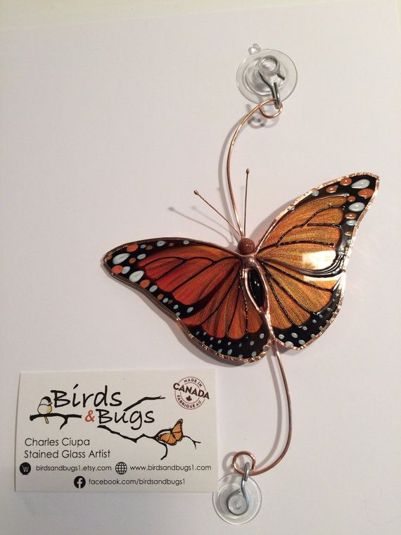 The monarch itself is 5 across and 3 long. It comes with 2 suction cups for hanging.