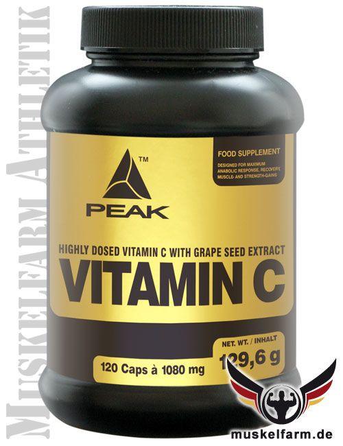 Peak Vitamin C (Ascorbinsäure) hochdosiert und mit OPC aus Traubenkernextrakt optimiert, 400% potenter als normales Vitamin C, antioxidative Powerformel.