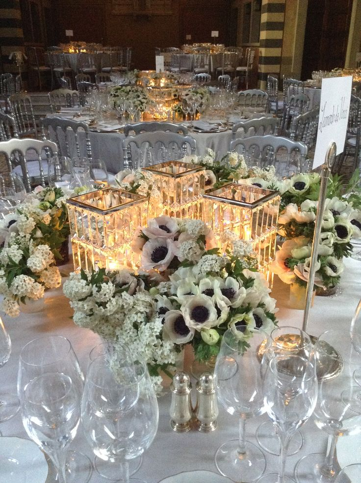 White and Swarovski crystal lanterns with candles, Vogue Event in florence