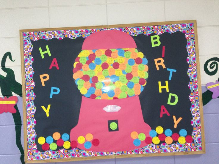 Gum-ball machine birthday bulletin board. | February bulletin boards ...