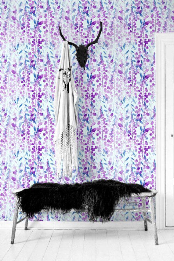 Blue & Purple seamless floral pattern removable wallpaper