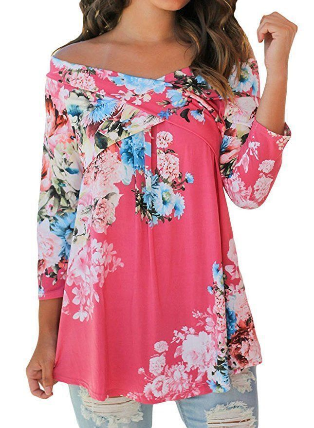 577c7e7ee2174b Womens CHASE SECRET Pink Blue Floral Crisscross Off Shoulder Swing Top SZ  Large  ChaseSecret  Top