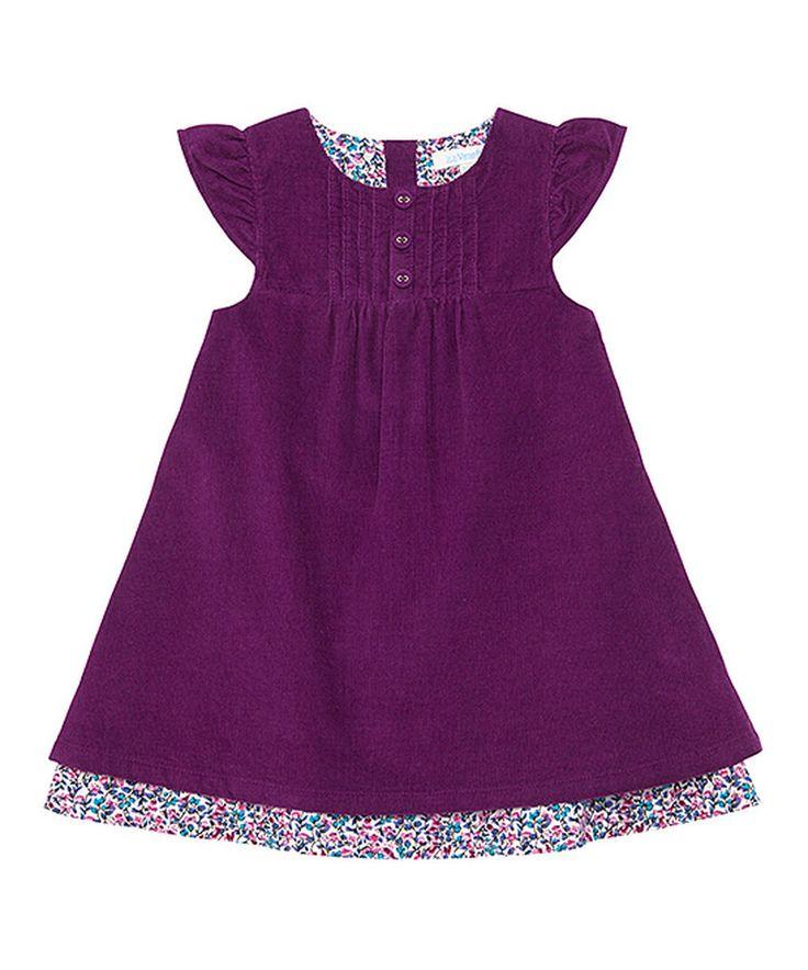 Loving this Plum Corduroy Cap-Sleeve Dress - Infant, Toddler & Girls on #zulily! #zulilyfinds