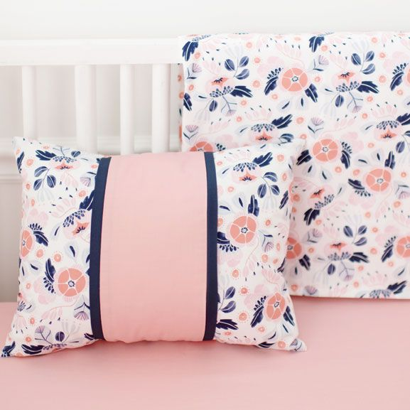Coral and Navy Crib Rail Cover Set | Girl Baby Bedding | Floral Crib Bedding