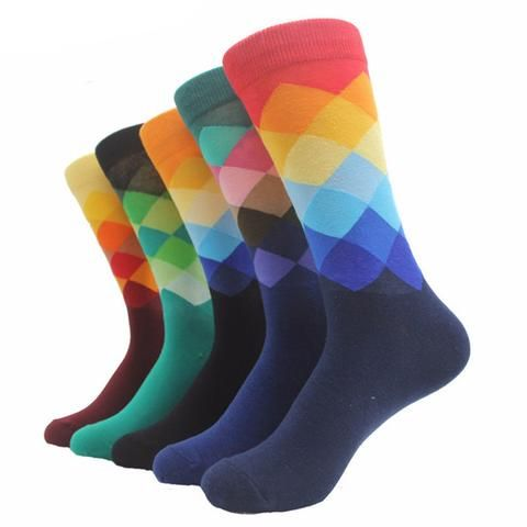 Very Comfortable and Funky Diamond Patterned Dress Socks Pack of Three (3)