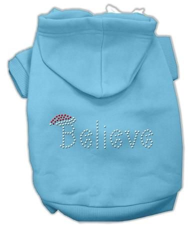 Believe Christmas Hoodie for Dogs Baby Blue/Extra Large