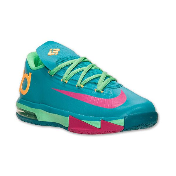 Boys' Grade School Nike KD 6 Basketball Shoes (£81) ❤ liked on Polyvore featuring shoes, sneakers, kd and nike