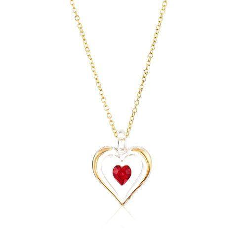 Glass Baron 'July' Birthstone Gold Trim Heart Necklace