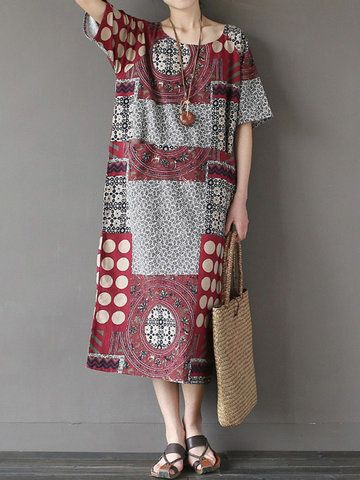 Hot-sale O-NEWE Vintage Printed Short Sleeve O-Neck Women A-Line Dress{ - NewChic Mobile.
