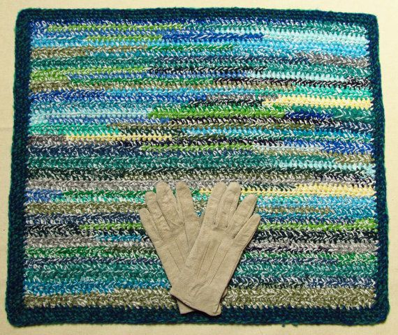 26x21 inch, rectangle crochet rug, blues and greens, handmade, upcycled, eco, carpet, cotton, recycled, reversible #etsy #upcycle