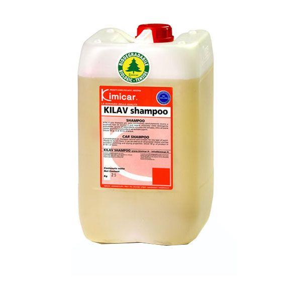 KILAV SHAMPOO 25 KG. Shampoo per auto concentrato assolutamente neutro su qualsiasi tipo di vernice. Può essere  utilizzato come detergente polivalente grazie all'abbondante schiuma  che sviluppa, oltre ad avere ottime proprietà autolucidanti  e autoasciuganti. TANICA DA 25 KG.
