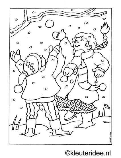 kleurplaat in de sneeuw kleuteridee nl omalov 225 nky