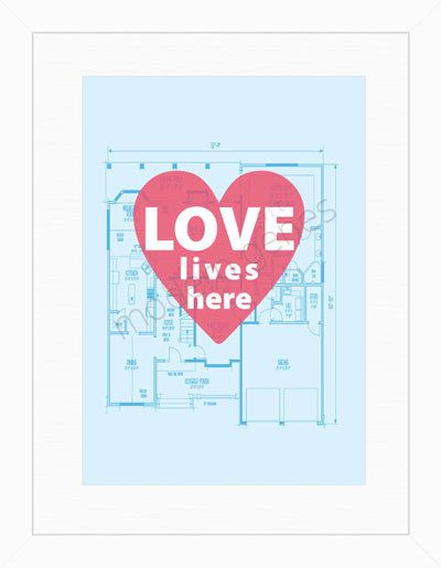 Love Lives Here Modern Print 18X24 Poster Size by moderngenesLiving, Love Life