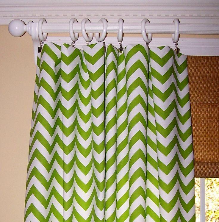 Marvelous Pretty Green Chevron Curtain