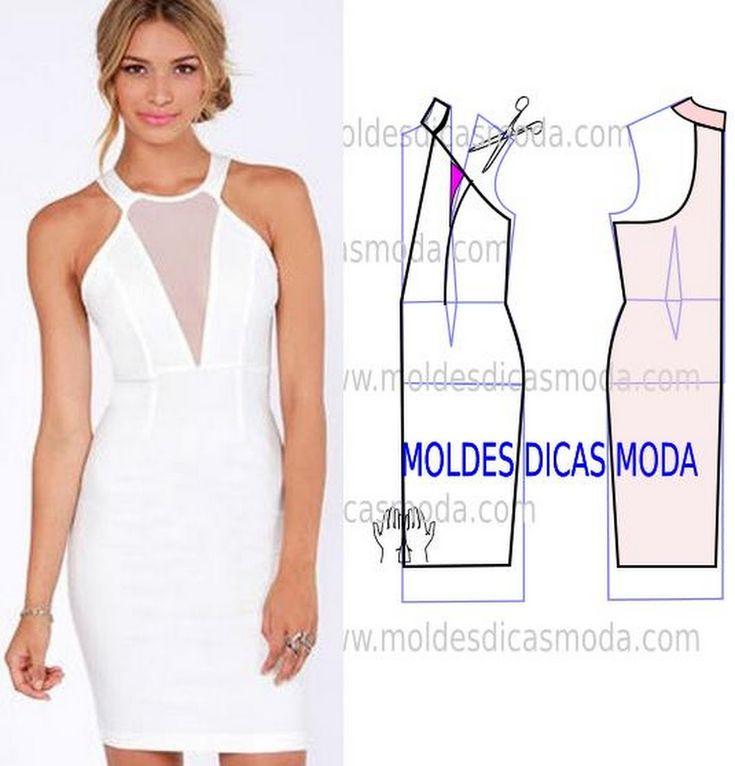 MOLDE VESTIDO BRANCO -224 - Moldes Moda por Medida