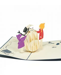 The Christmas Snowman pop up card has a navy cover with a beautiful illustration of a Christmas snowman. The happy snowman also wearing a lovely scarf and a stylish hat, bringing the Holiday spirit to recipients. Upon opening the card you will find a three-dimensional paper sculpture of a two kids making a Giant snowman. We always leave the card blank so that you can personalize your own words.