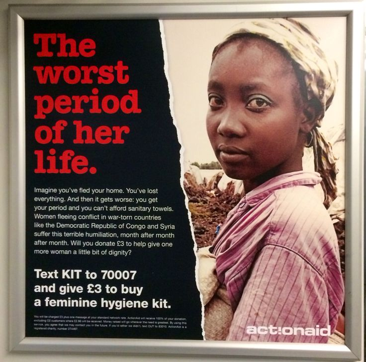 Here is an another ad we spotted on the 12th February for the international development, ActionAid. This ad is calling for text donations to help provide female hygiene kits.  #charity #advert #actionaid