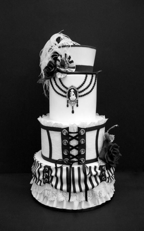 B&W Wedding by Nessie - The Cake Witch - http://cakesdecor.com/cakes/207227-b-w-wedding