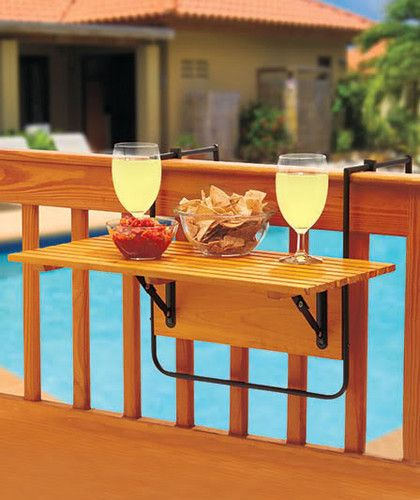 Details about folding wood deck table tray railing patio for Wood balusters for tables