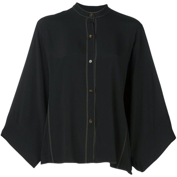 Helmut Lang wide sleeve contrast stiching shirt (€415) ❤ liked on Polyvore featuring tops, black, sleeve shirt, helmut lang top, shirt tops, helmut lang and helmut lang shirt