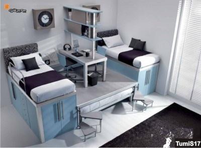 Soppalco con il terzo letto estraibile e scrittoio al centro