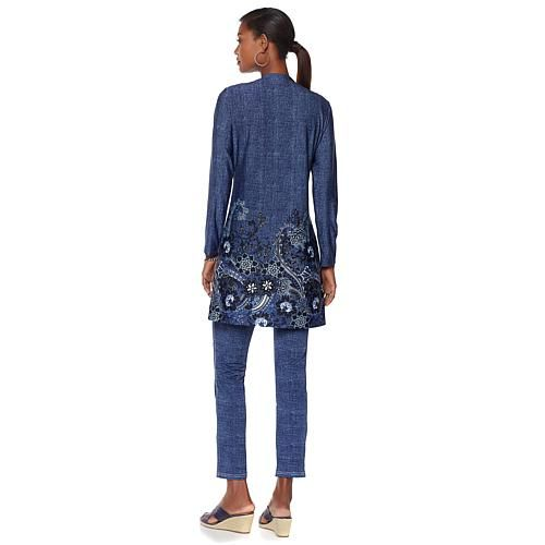 Liz Lange Silky Denim Knit Border Print Cardigan - Indigo Denim Wash