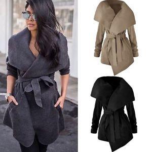 Women Ladies Casual Windbreaker Coat Long Trench Parka Overcoat Outwear Jacket