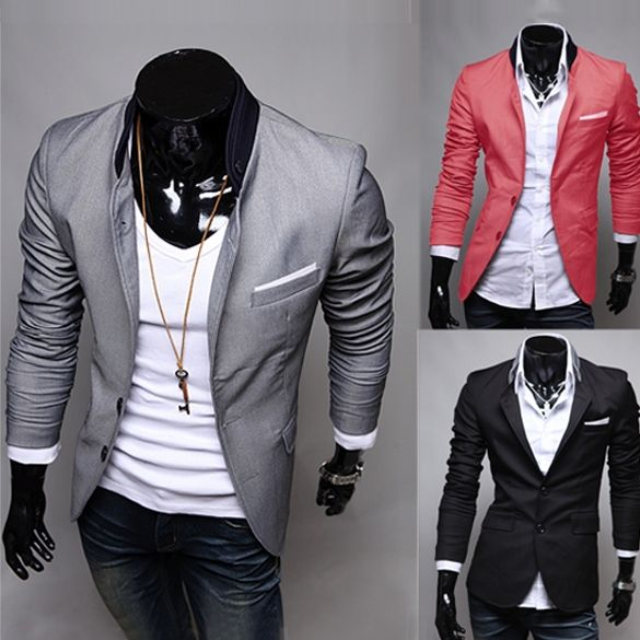 10,39$ now! Hot Men's Casual Dress Slim Fit Stylish Suit Blazer Coats Jackets 3color 4sizes
