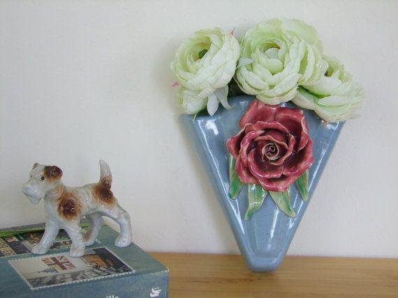 Vintage Wall Vase - 1950's Ceramic, Blue with Fine Bone China Rose Motif