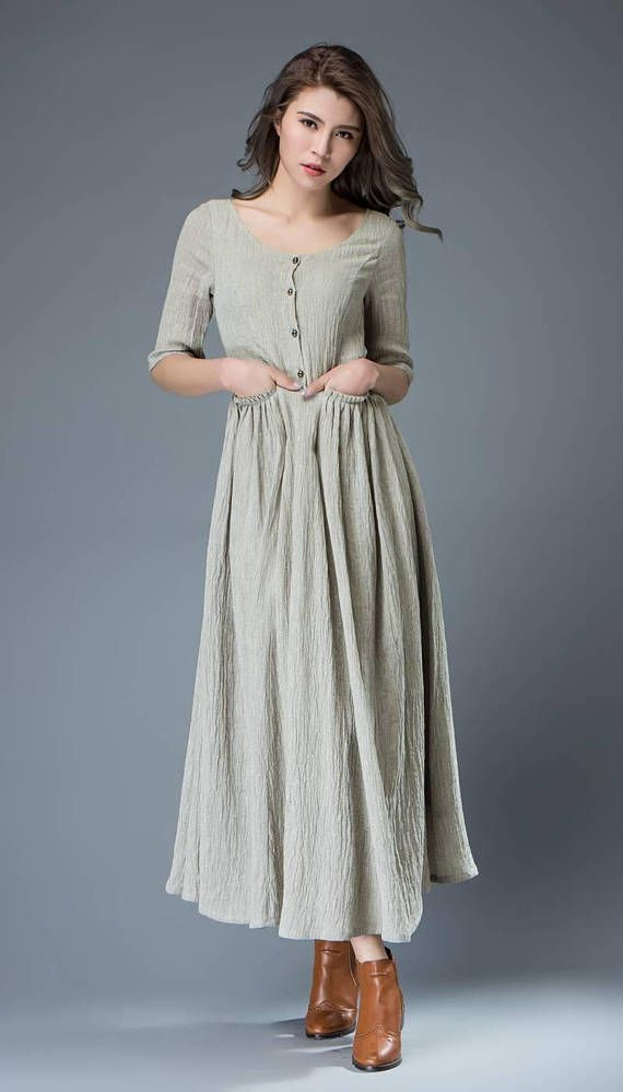 Welcome to my shop and thanks for your interested to the gray dress.It is a pale gray linen dress,round collar,half sleeve,has white cotton lining,so it is no see through.It has a side zipper,has four buttons,has two pockets in the waist.This dress is featured with casual,soft and