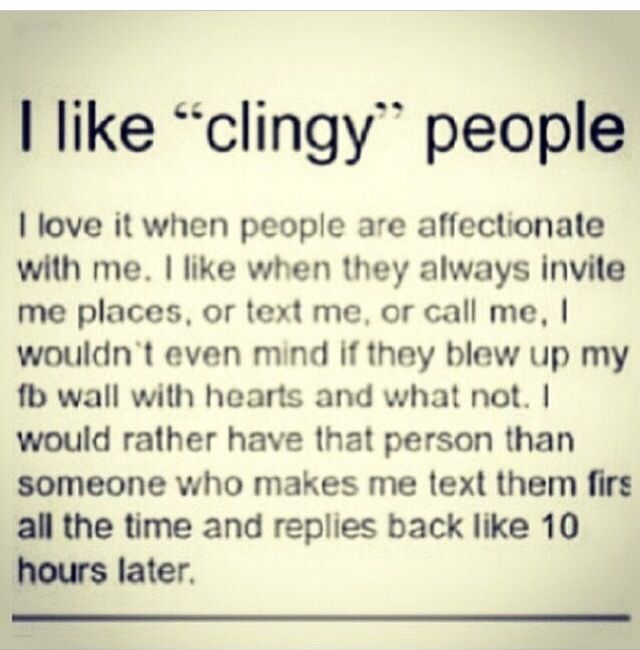 whats the meaning of clingy